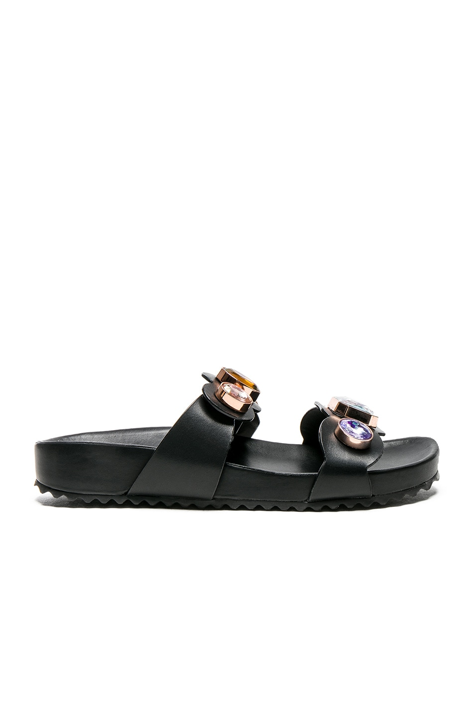 Image 1 of Sophia Webster Leather Becky Gem Slides in Black