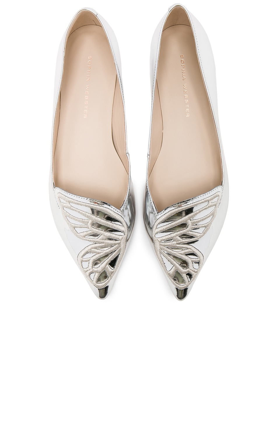 55cfae5f9 Image 1 of Sophia Webster Leather Bibi Butterfly Flats in Silver Metallic