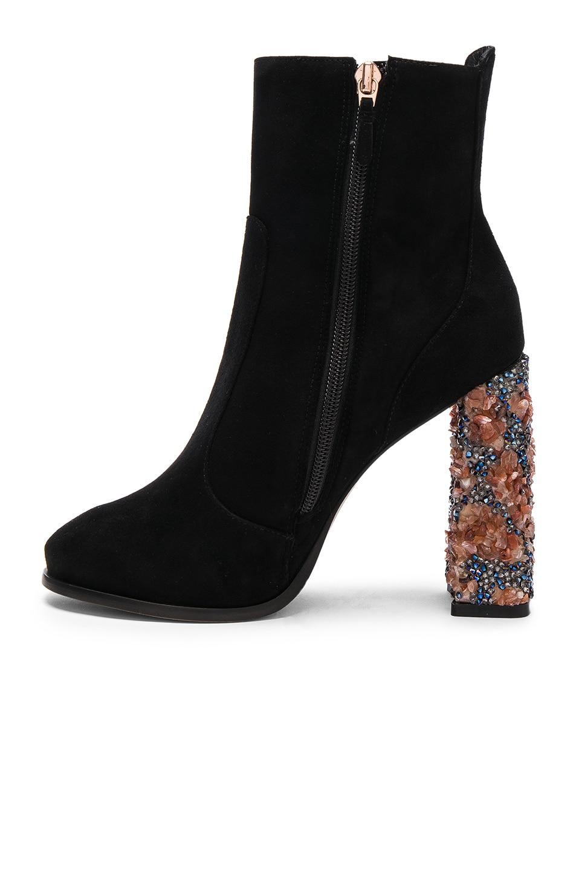 Image 5 of Sophia Webster Kendra Suede Ankle Boots in Black & Amber Crystal