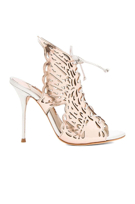 Image 1 of Sophia Webster Cherub Leather Heels in Rose Gold & Silver