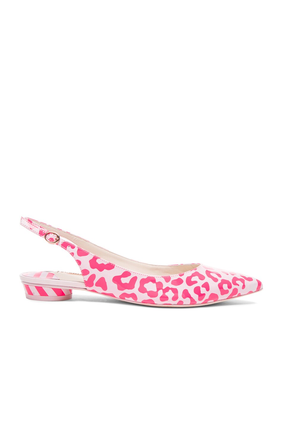 Image 1 of Sophia Webster Tyra Patent Leather Leopard Flats in Pink