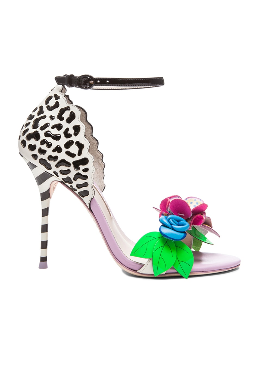 Image 1 of Sophia Webster Lilico Jungle Leather Heels in White, Black, & Multi