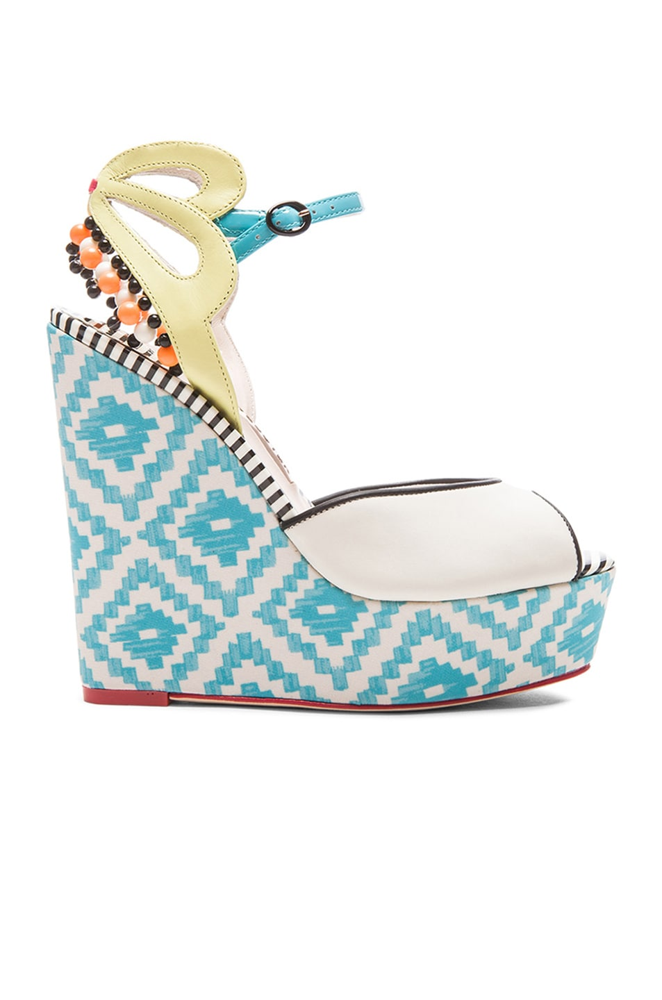 Image 1 of Sophia Webster Lula Aztec Leather Wedges in Blue & Winter White