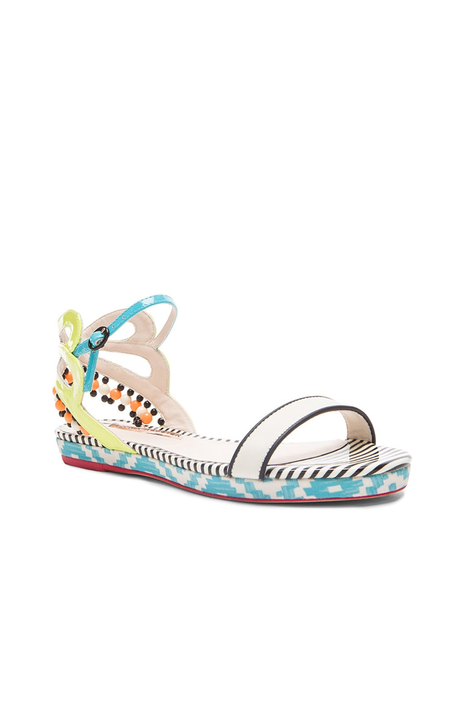 Image 2 of Sophia Webster Luca Aztec Patent Leather Sandals in Blue & White