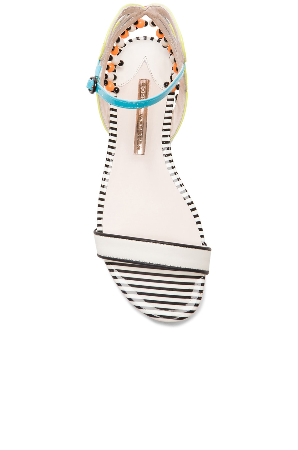 Image 4 of Sophia Webster Luca Aztec Patent Leather Sandals in Blue & White