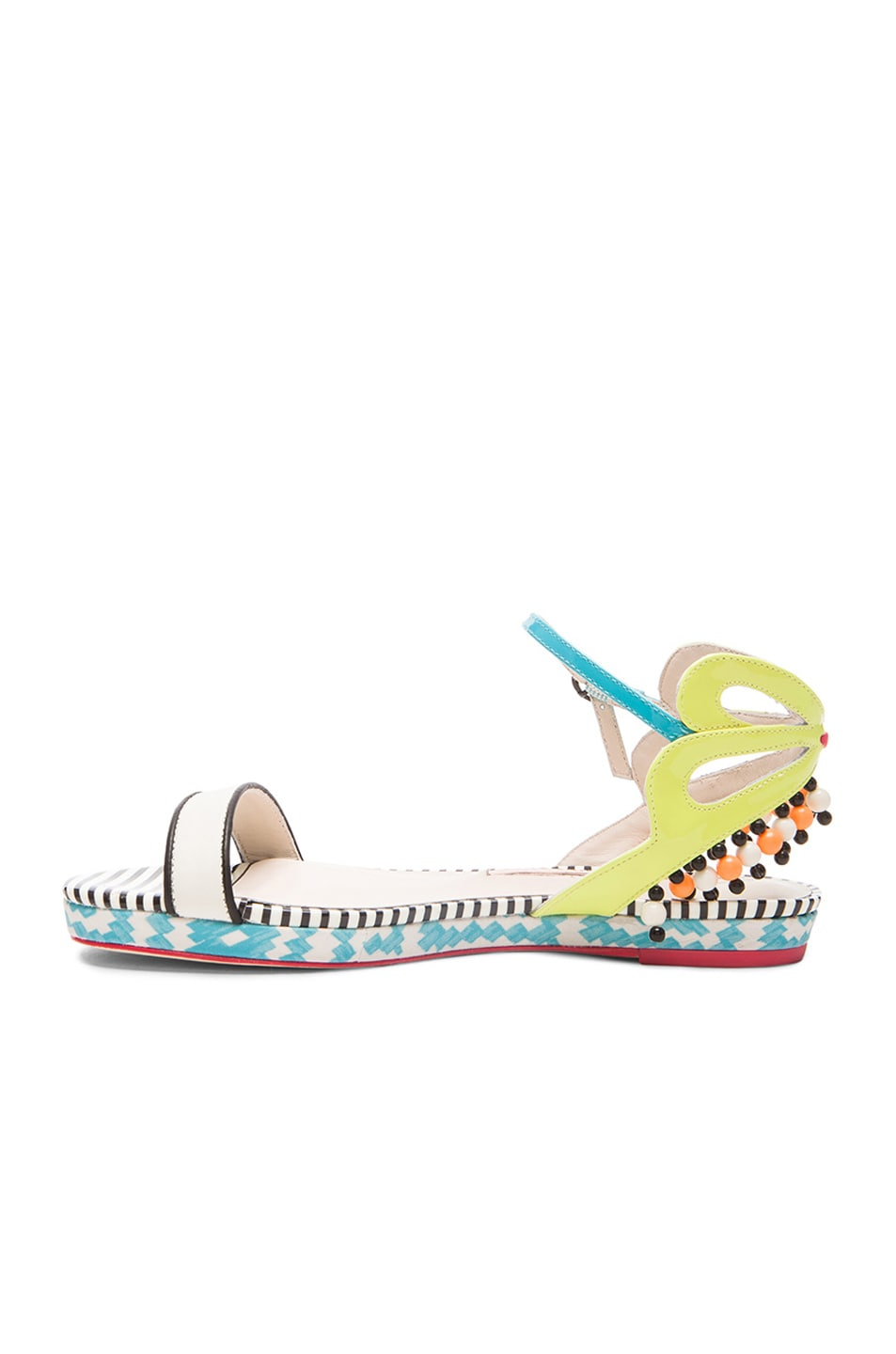 Image 5 of Sophia Webster Luca Aztec Patent Leather Sandals in Blue & White