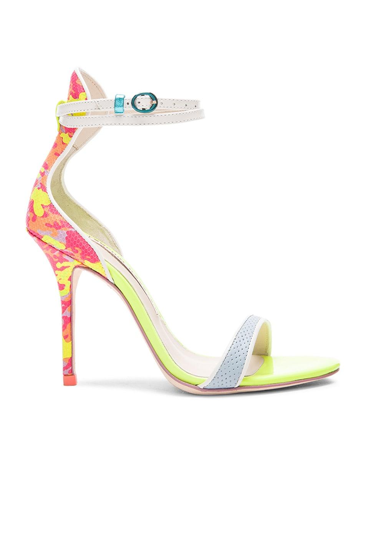 Image 1 of Sophia Webster Nicole Camo 100mm Leather Heels in Pink