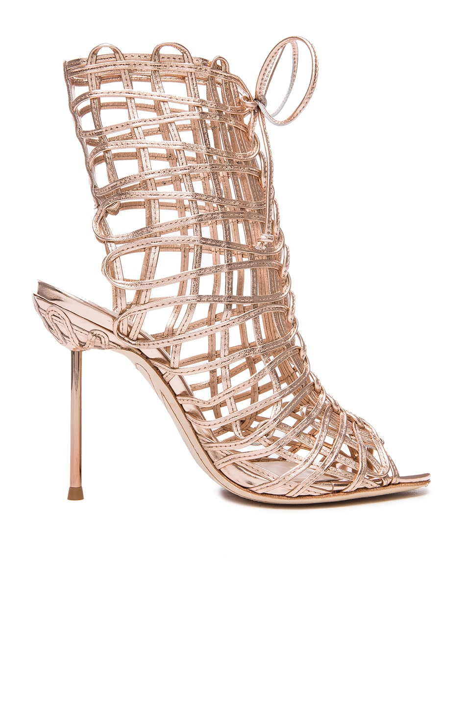 Image 1 of Sophia Webster Delphine Leather Booties in Gold