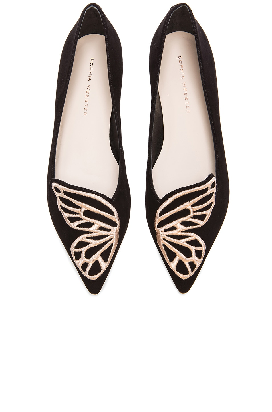 Image 1 of Sophia Webster Bibi Butterfly Suede Flats in Black & Rose Gold