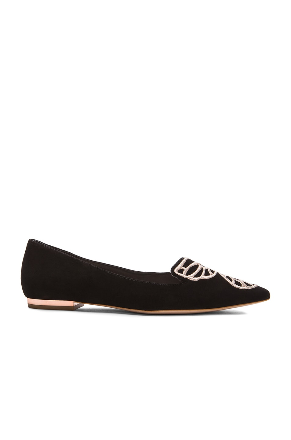 Image 2 of Sophia Webster Bibi Butterfly Suede Flats in Black & Rose Gold