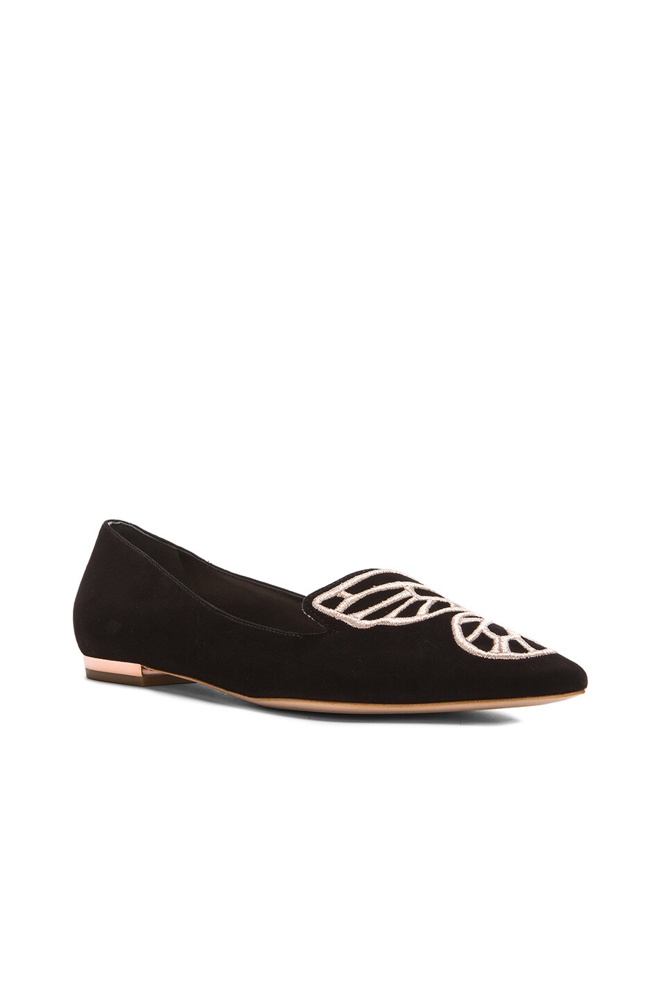 Image 3 of Sophia Webster Bibi Butterfly Suede Flats in Black & Rose Gold