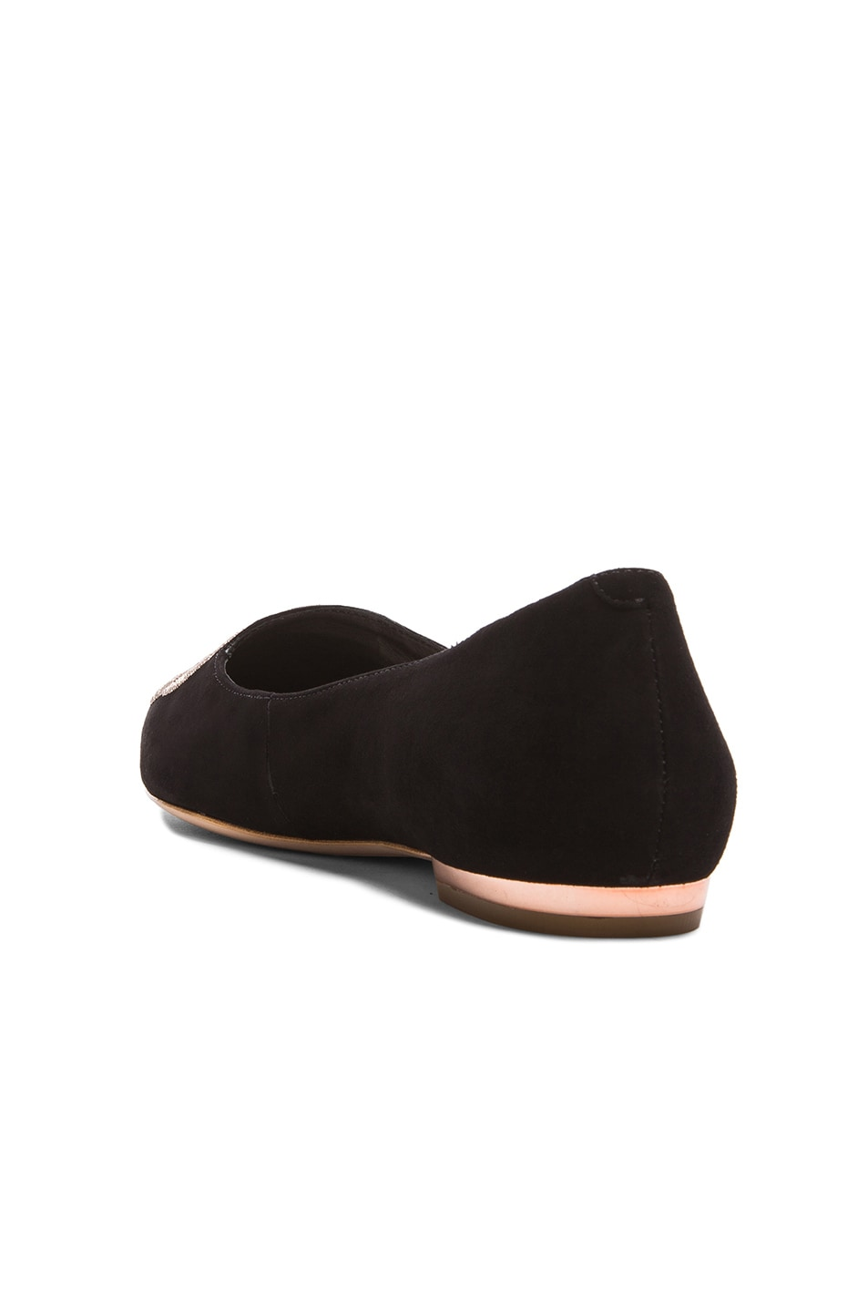 Image 4 of Sophia Webster Bibi Butterfly Suede Flats in Black & Rose Gold