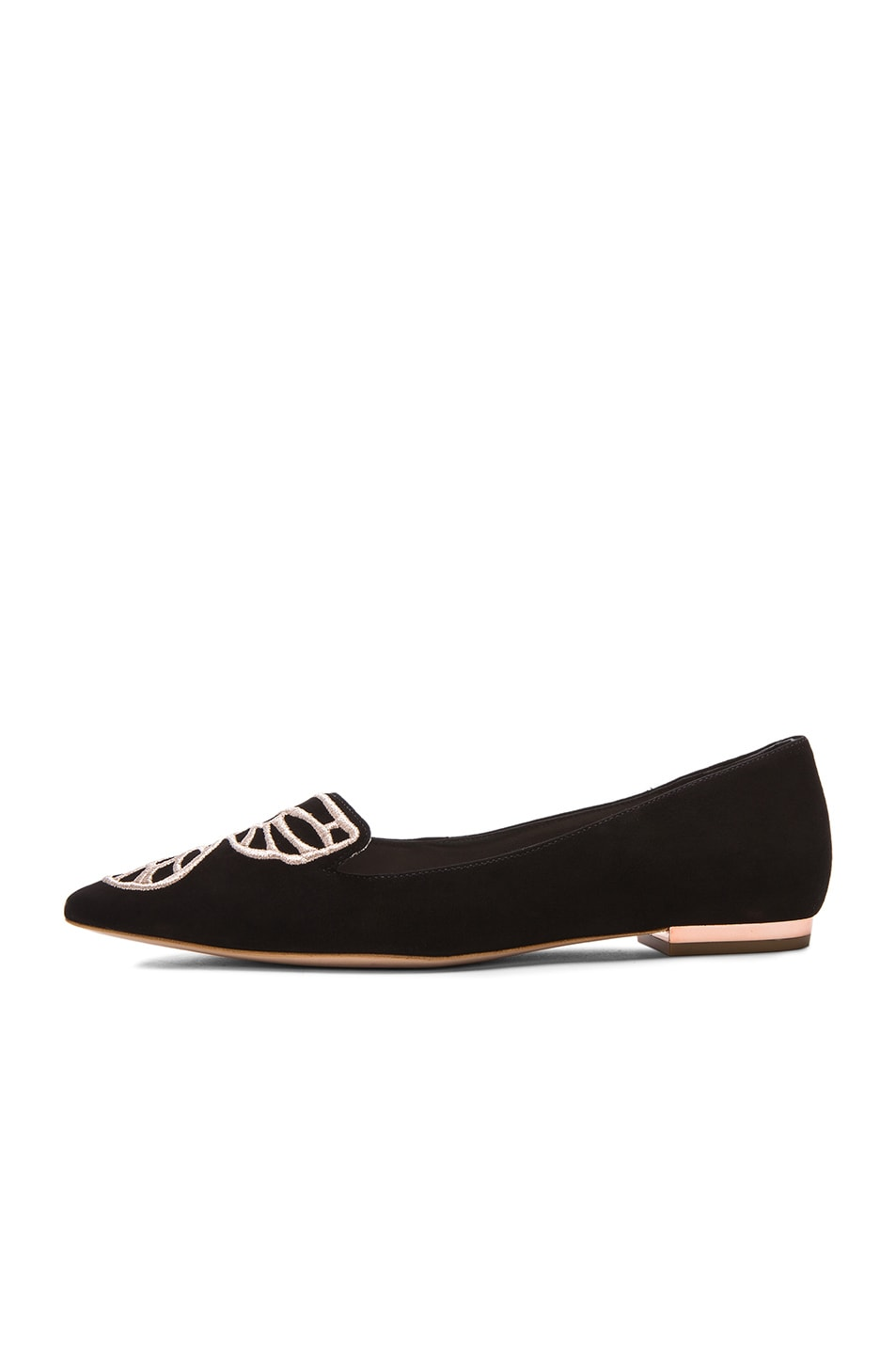 Image 5 of Sophia Webster Bibi Butterfly Suede Flats in Black & Rose Gold