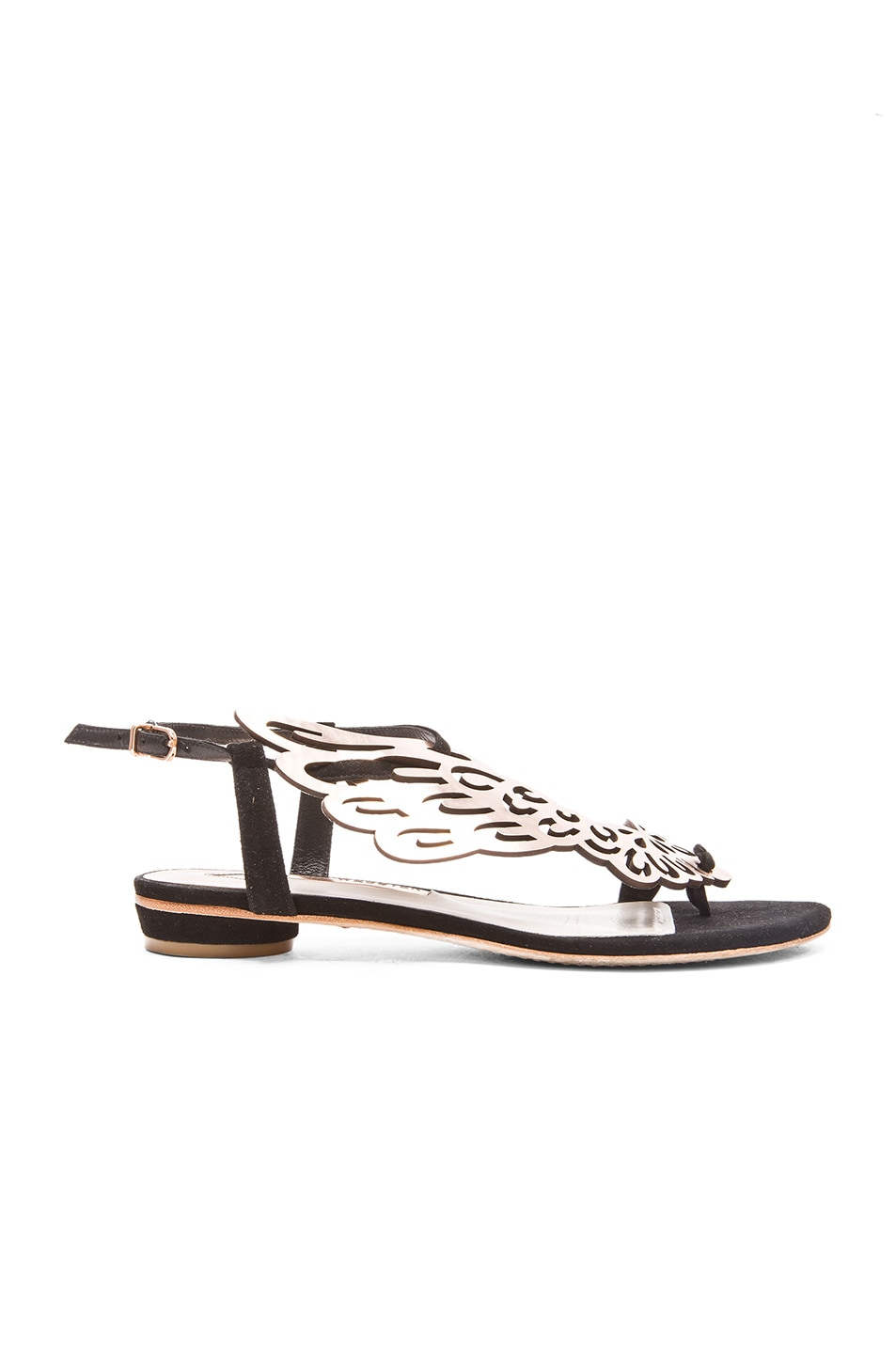 Image 1 of Sophia Webster Seraphina Leather Sandals in Black Rose Gold