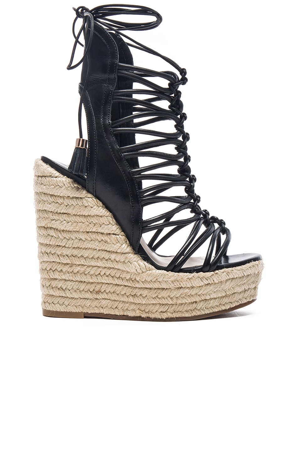Image 1 of Sophia Webster Lacey Wedges in Black & Gold