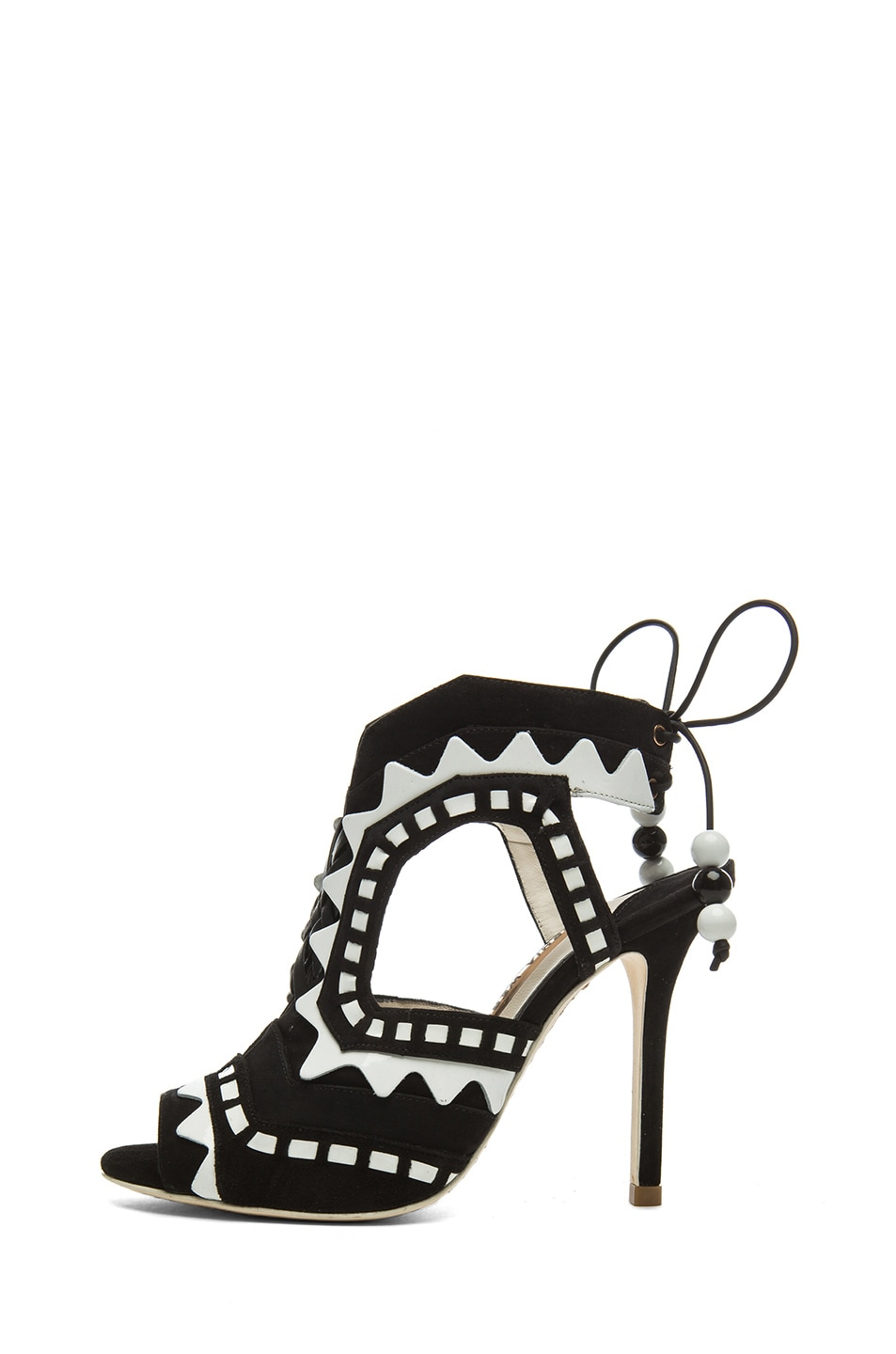 Image 1 of Sophia Webster Riko 3 Suede Heels in Black & White