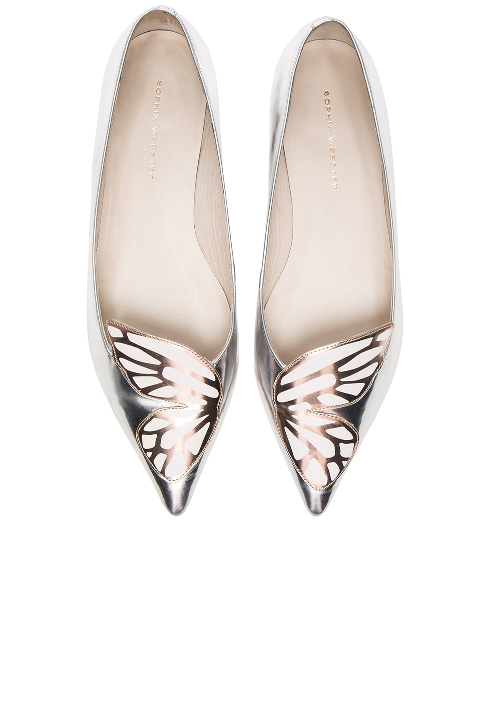 Image 1 of Sophia Webster Leather Bibi Butterfly Flats in Silver & Rose Gold