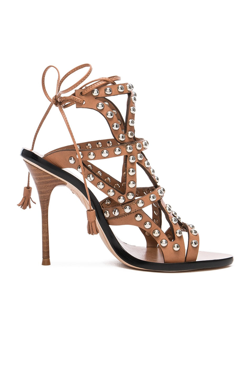 Image 1 of Sophia Webster Leather Mila Heels in Tan