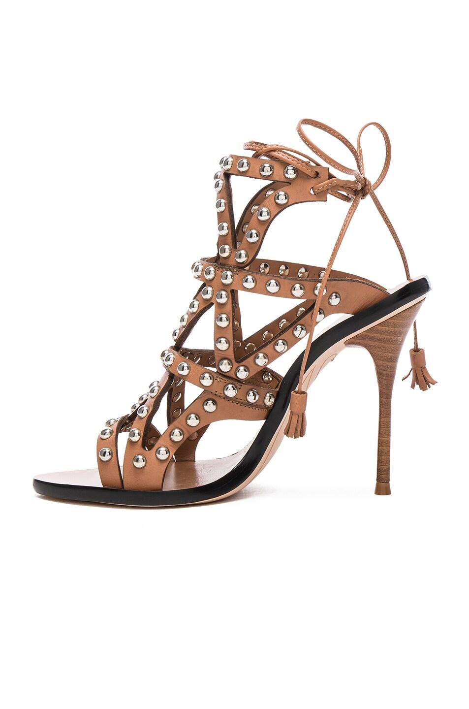 Image 5 of Sophia Webster Leather Mila Heels in Tan