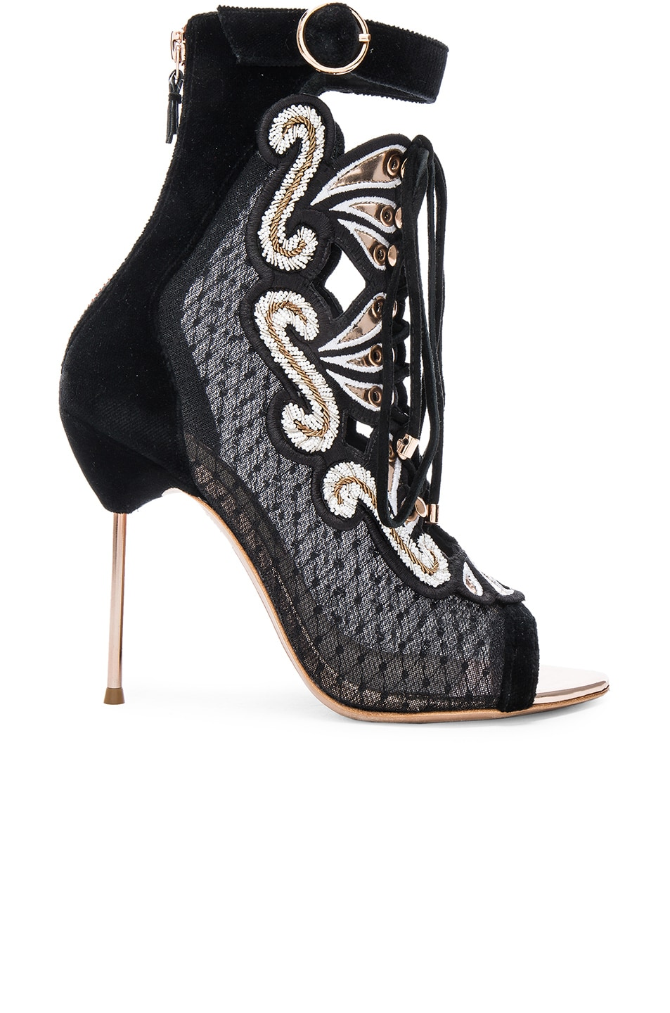 Image 1 of Sophia Webster Selina Sandal Booties in Black & Gold