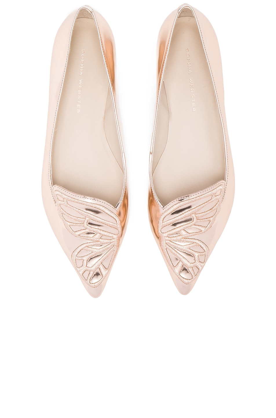 Image 1 of Sophia Webster Leather Bibi Butterfly Flats in Gold