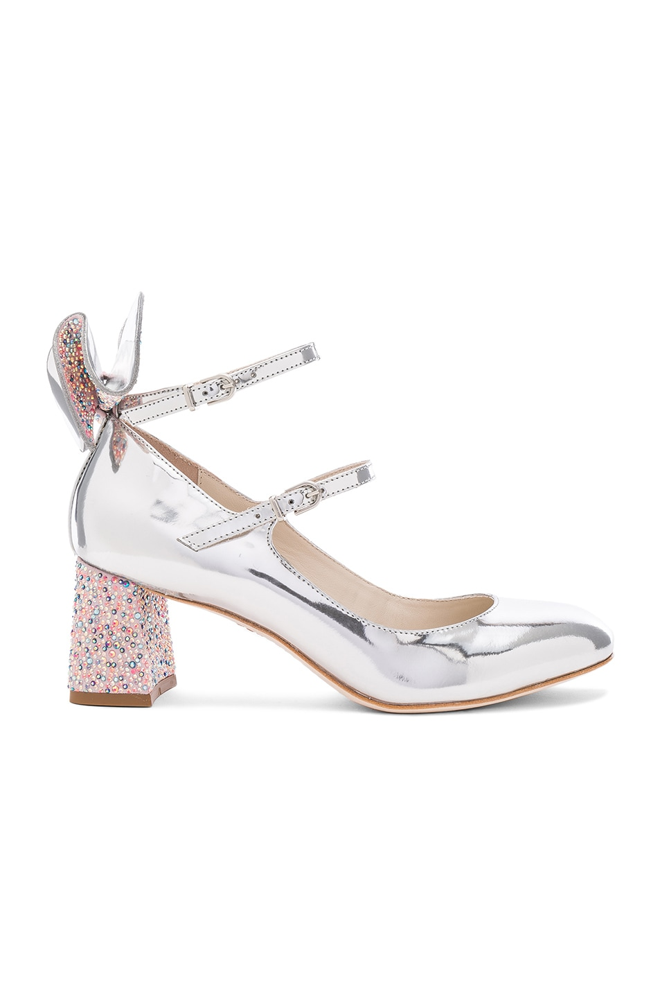 Image 1 of Sophia Webster Leather Lilia Mid Mary Jane Heels in Silver