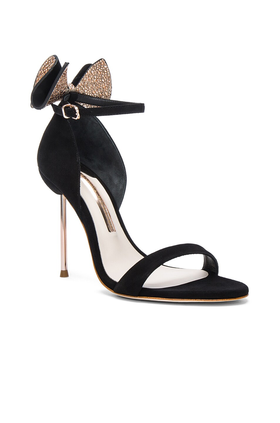 Image 2 of Sophia Webster Suede Maya Heels in Black