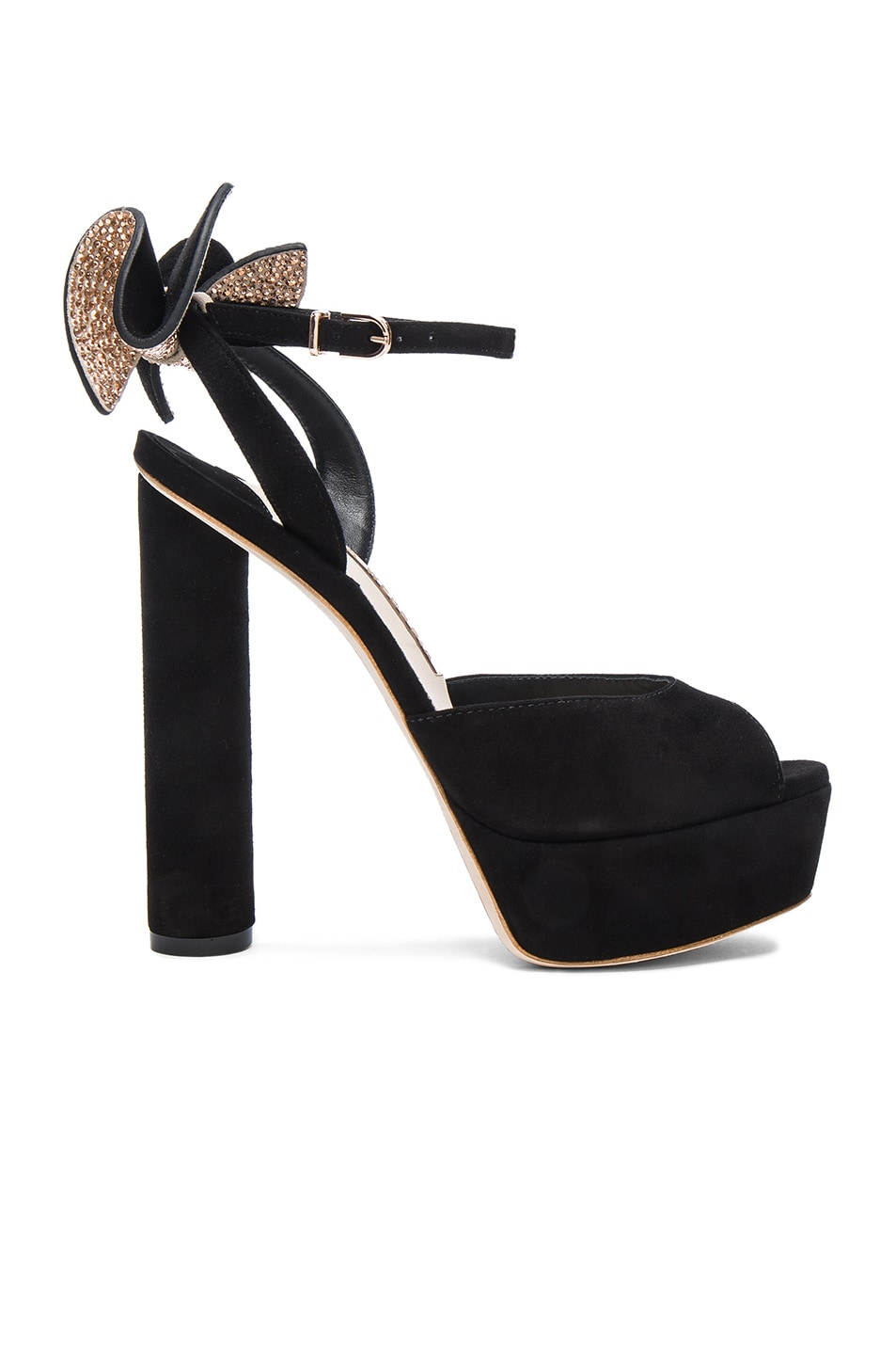 Image 1 of Sophia Webster Suede Raye Platform Heels in Black