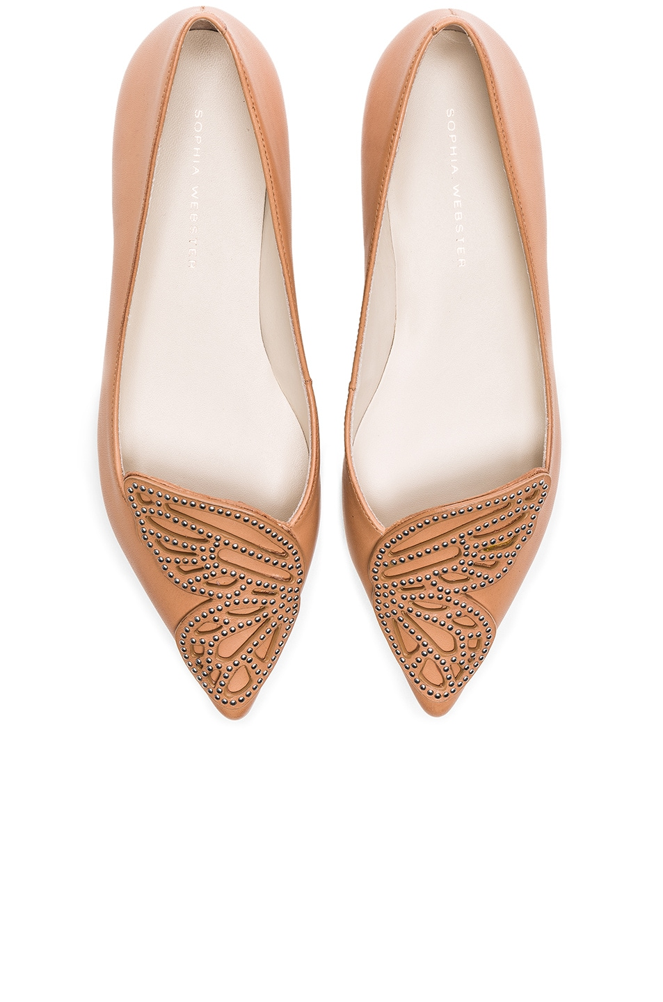Image 1 of Sophia Webster Leather Bibi Stud Butterfly Flats in Tan