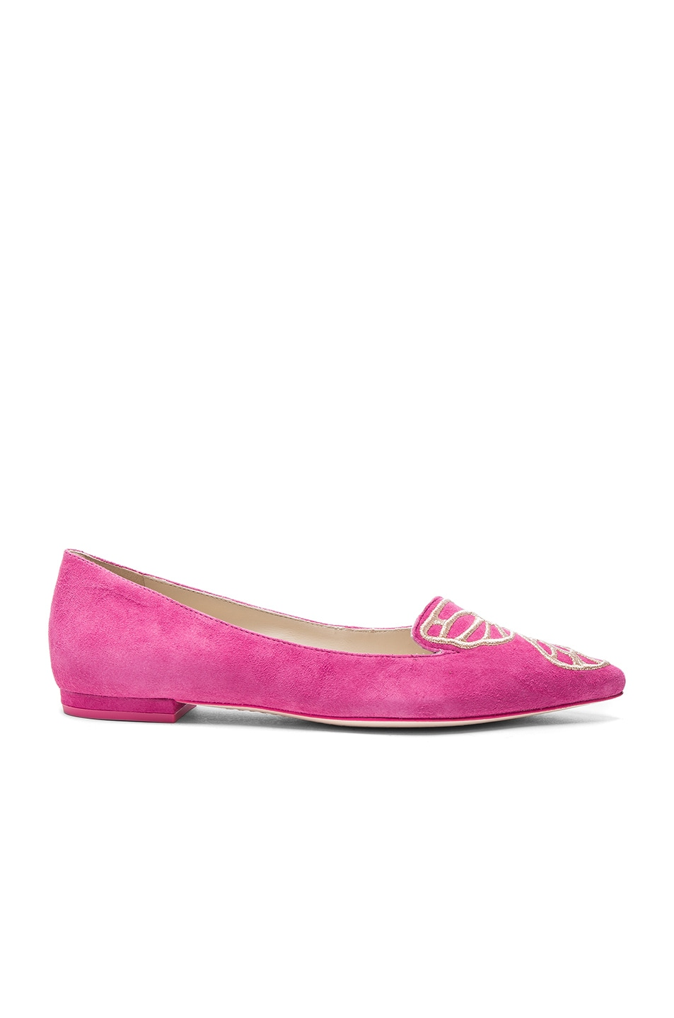 Image 2 of Sophia Webster Suede Bibi Butterfly Flats in Magenta & Rose Gold