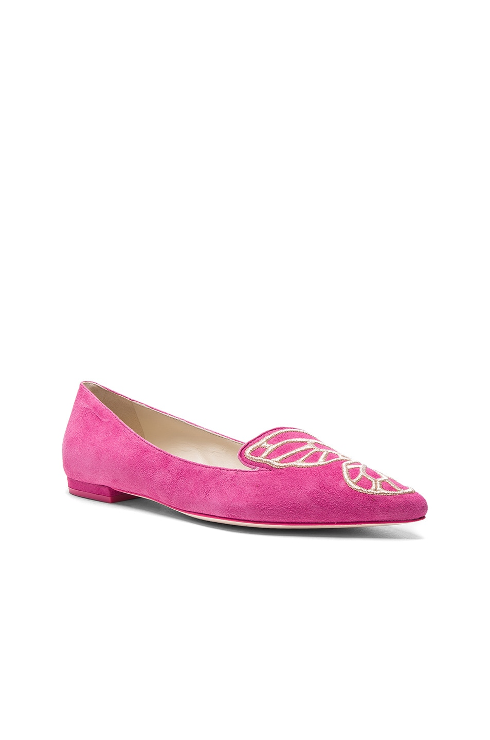 Image 3 of Sophia Webster Suede Bibi Butterfly Flats in Magenta & Rose Gold