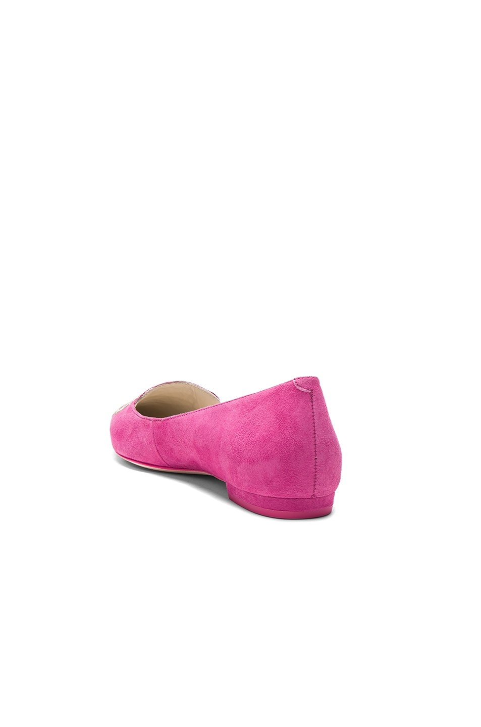 Image 4 of Sophia Webster Suede Bibi Butterfly Flats in Magenta & Rose Gold