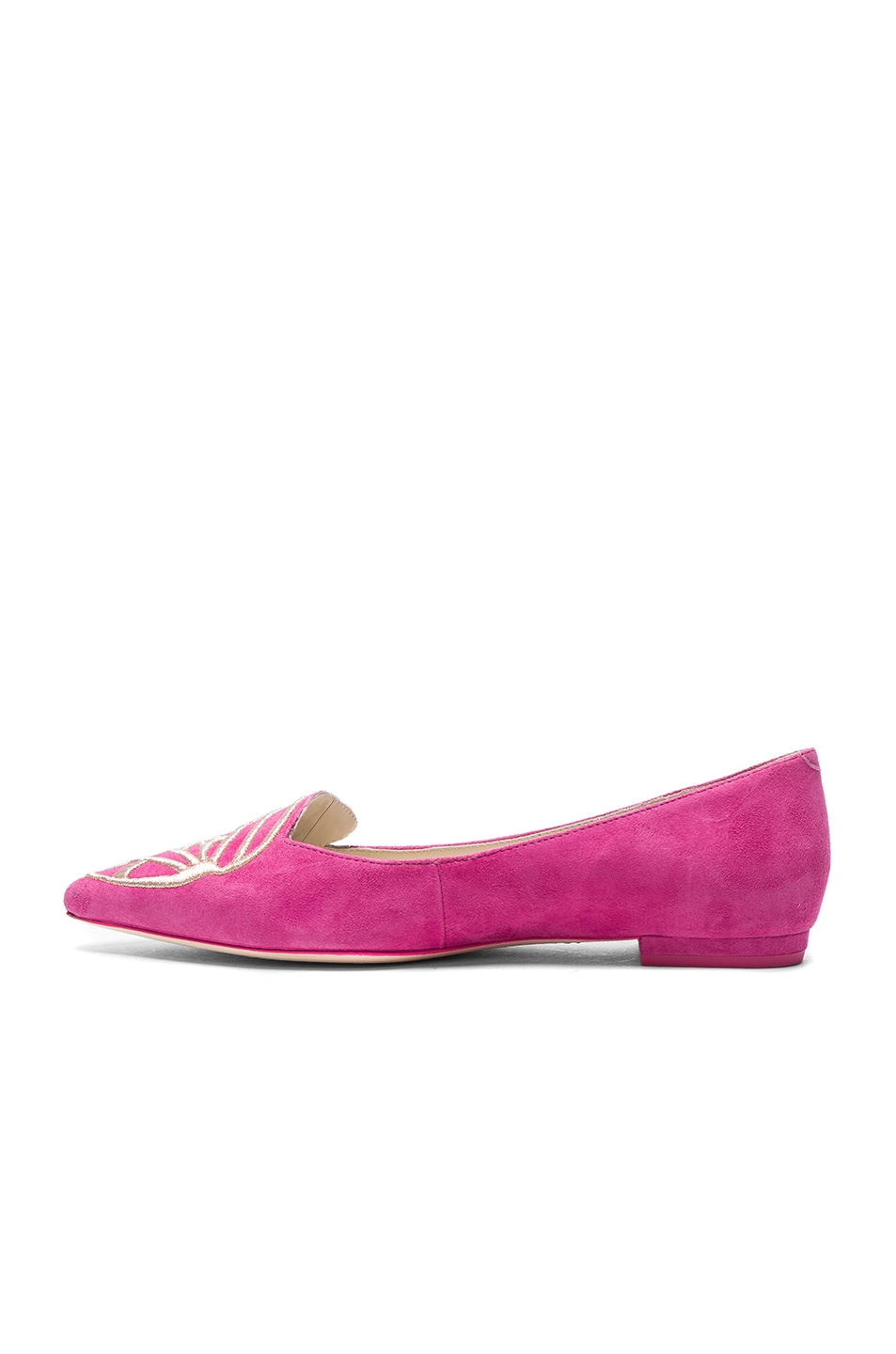 Image 5 of Sophia Webster Suede Bibi Butterfly Flats in Magenta & Rose Gold