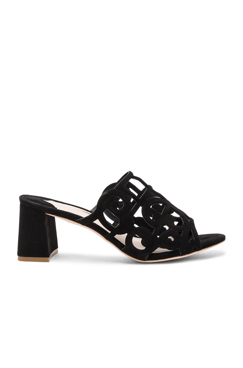 Image 1 of Sophia Webster Suede Birdie Mules in Black
