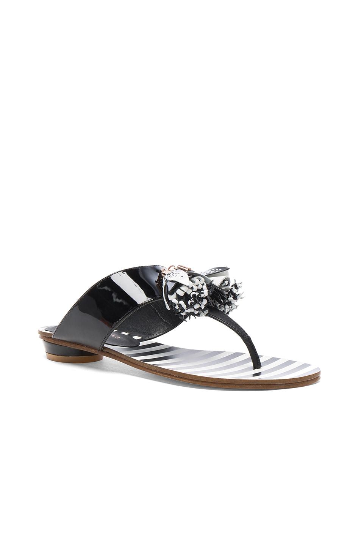 Image 2 of Sophia Webster Patent Leather Saffi Slide in Black & White