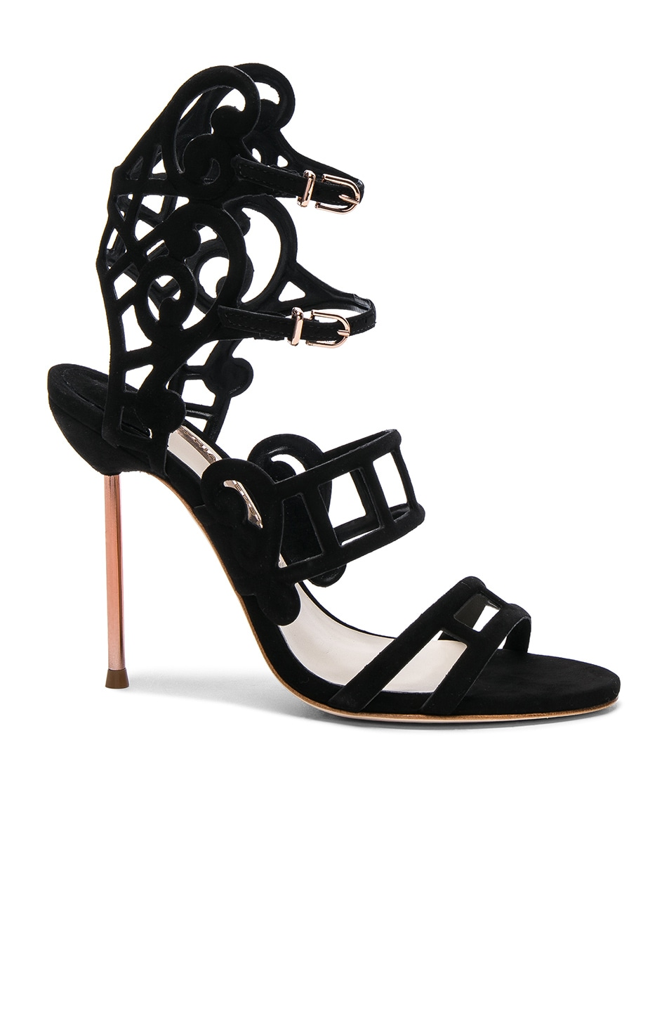 Image 1 of Sophia Webster Suede Birdie Sandals in Black
