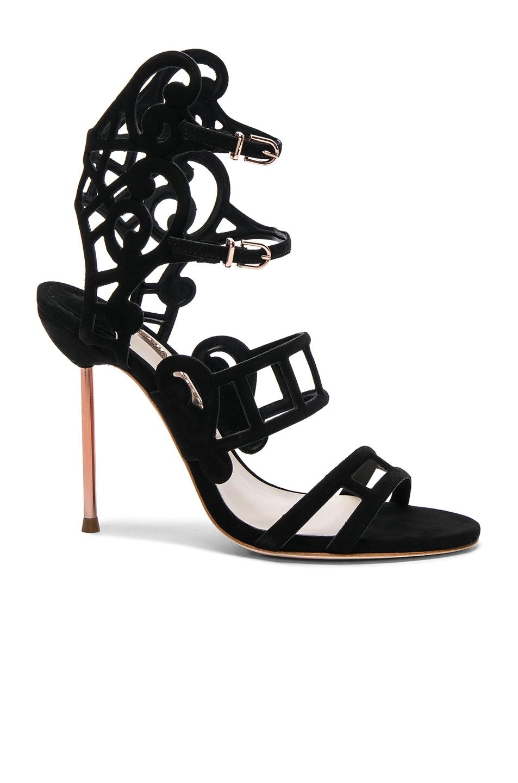 Image 1 of Sophia Webster Suede Birdie Sandals in Black