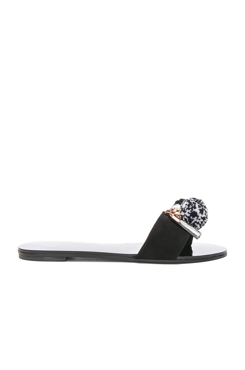 Image 1 of Sophia Webster Suede Jada Pom Pom Slides in Cookies & Cream