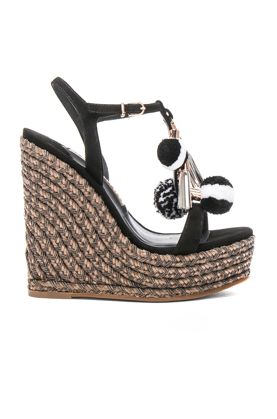 Image 1 of Sophia Webster Suede Lucita Pom Pom Wedges in Cookies & Cream