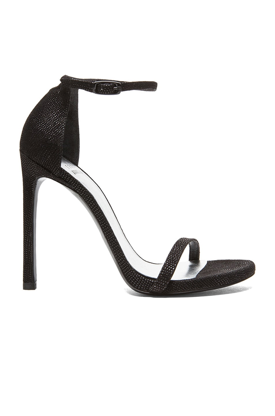 Image 1 of Stuart Weitzman Nudist Textured Nappa Leather Heels in Black Goosebump