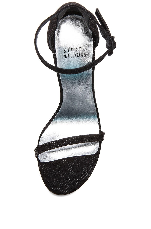 Image 4 of Stuart Weitzman Nudist Textured Nappa Leather Heels in Black Goosebump