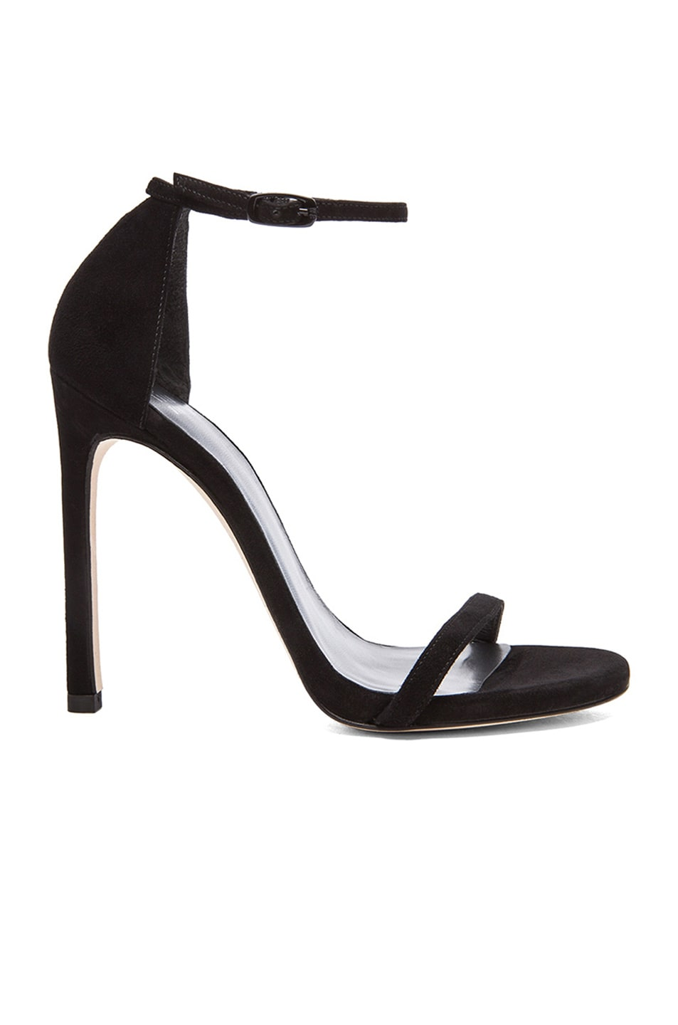 Image 1 of Stuart Weitzman Suede Nudist Heels in Black Suede