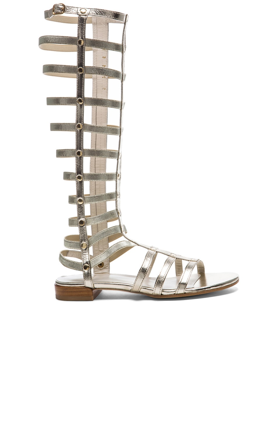 Image 1 of Stuart Weitzman Metallic Nappa Leather Gladiator Sandals in Cava