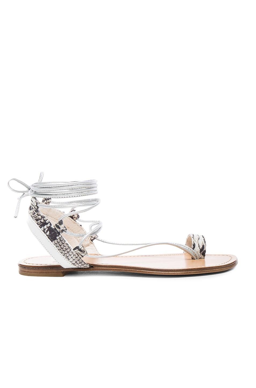 Image 1 of Stuart Weitzman Embossed Lasso Sandals in Silver