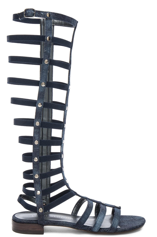 Image 1 of Stuart Weitzman Denim Gladiator Sandals in Navy