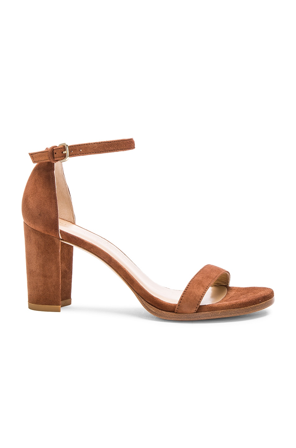 Image 1 of Stuart Weitzman Suede Nearly Nude Heel in Saddle
