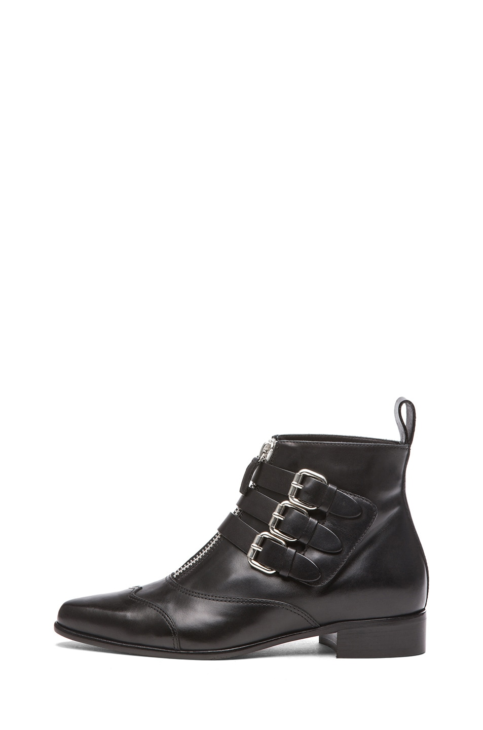 Image 1 of Tabitha Simmons Early Calfskin Leather Booties with Buckles in Black Calf