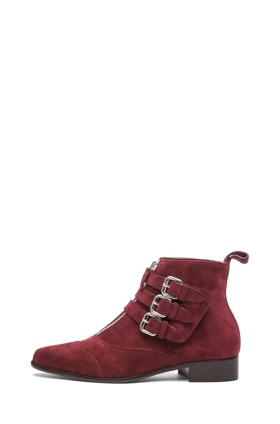 Image 1 of Tabitha Simmons Early Suede Booties with Buckles in Burgundy