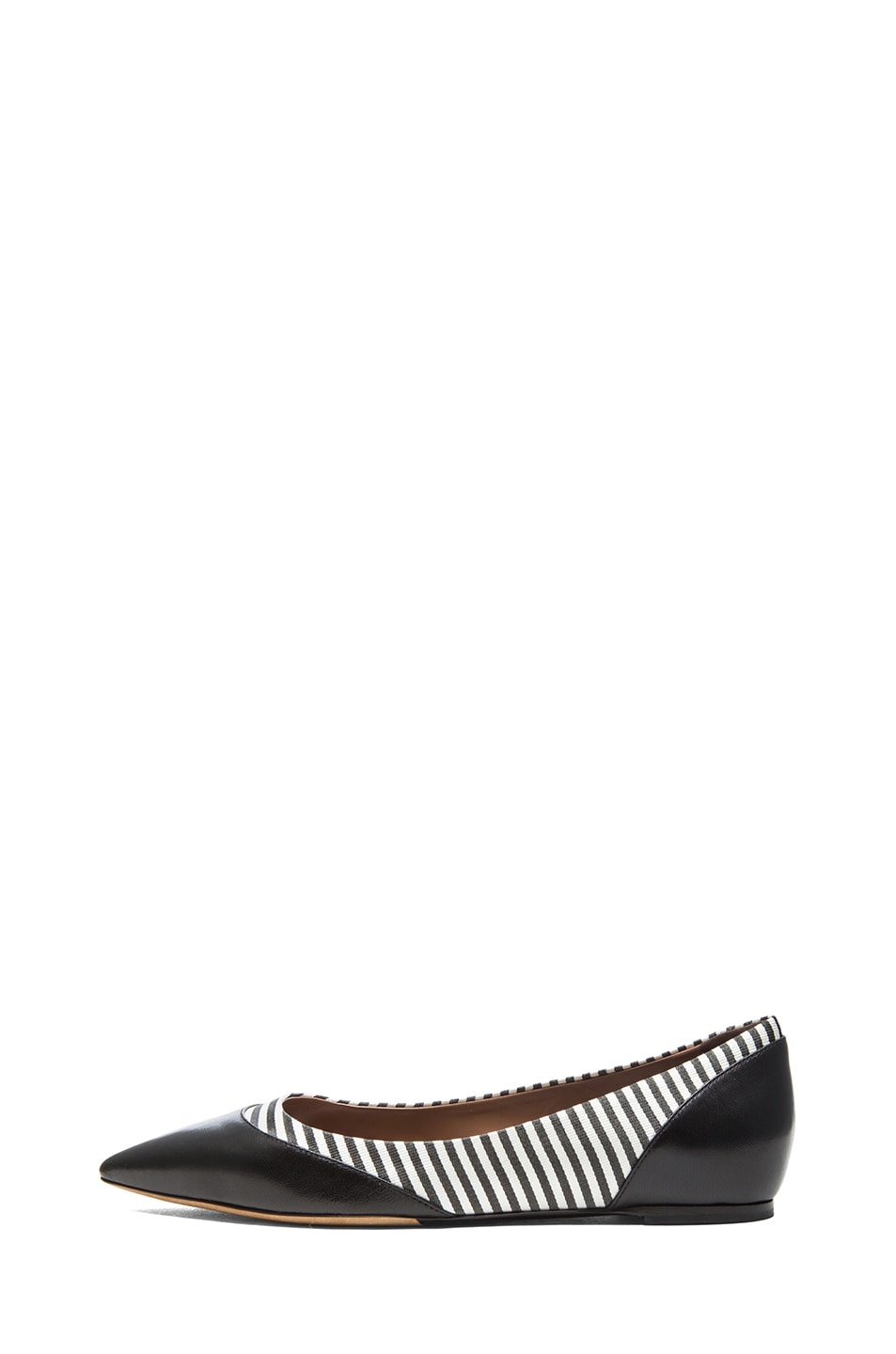 Image 1 of Tabitha Simmons Leith Grossgrain Fabric & Leather Flats in Black & Shirt Stripe