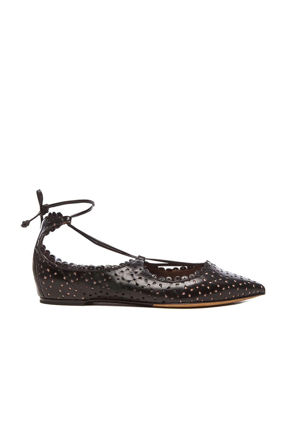 Image 1 of Tabitha Simmons Leather Willa Flats in Black Perforated
